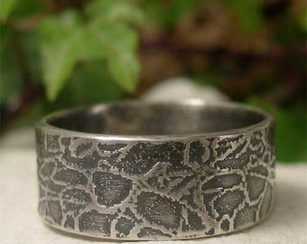 Mens Sterling Silver Ring, Wide Band Textured Silver Ring, Mans Alternative Wedding Ring, Oxidized Silver Flat Band, Rustic Commitment Ring
