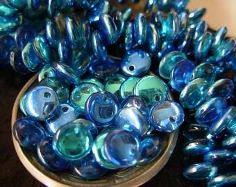 6mm Czech Lentil Glass Beads- Mirror Reflection- Aqua Midnight (50)