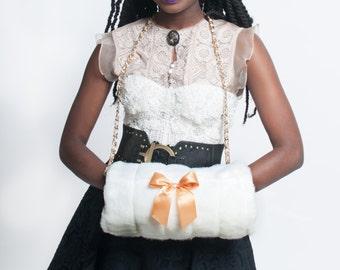 White Handmade Muff, Winter Wedding Accessories, Muff with Chain, Winter Fashion Accessories, Faux Fur Hand Warmer, Gloves Alternative