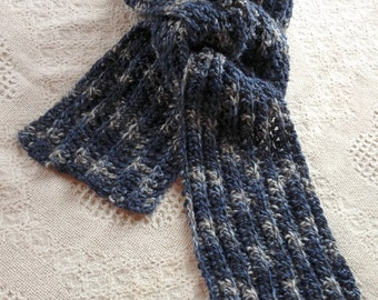 Soft Alpaca Ribbed Scarf, Hand Crocheted, Swizzle Yarn, Made To Order