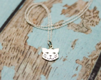 Cute Cat Face Charm Necklace in Sterling Silver
