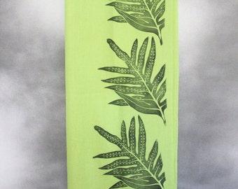 Shawl, Green with Black Lauaʻe (Fern) Block Print