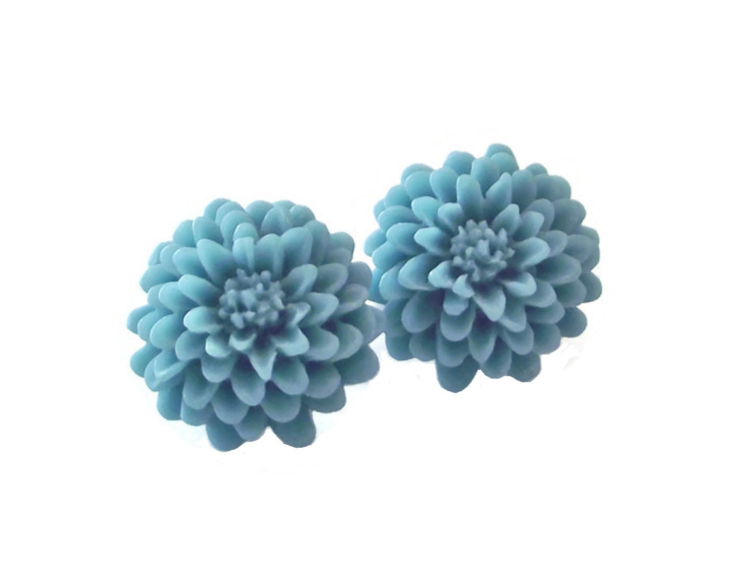 Turquoise Blue Chrysanthemum Spring Flower Clip On Earrings