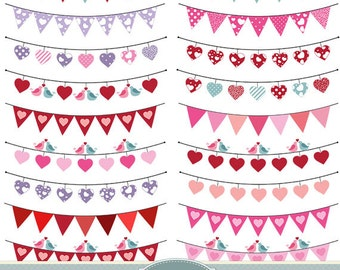 Valentine Bunting Clipart Valentine Clipart Heart Bunting Clipart Rustic Wedding Invitations Prom Bridal Shower Scrapbooking