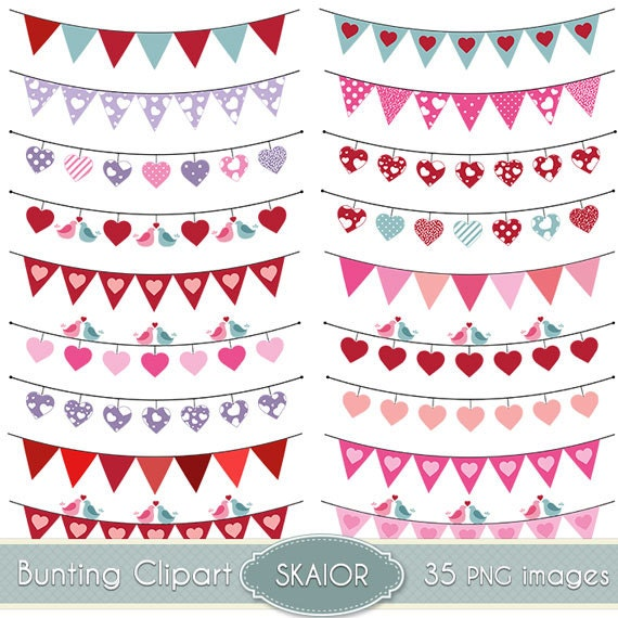 Flags Bunting Clipart Heart Clip Art Garland Rustic Wedding Invitations Prom Bridal Shower Scrapbooking Digital Banner Flag