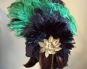 Black and Emerald Ostrich Fascinator Feather Headpiece with Gold Sequin and Beads