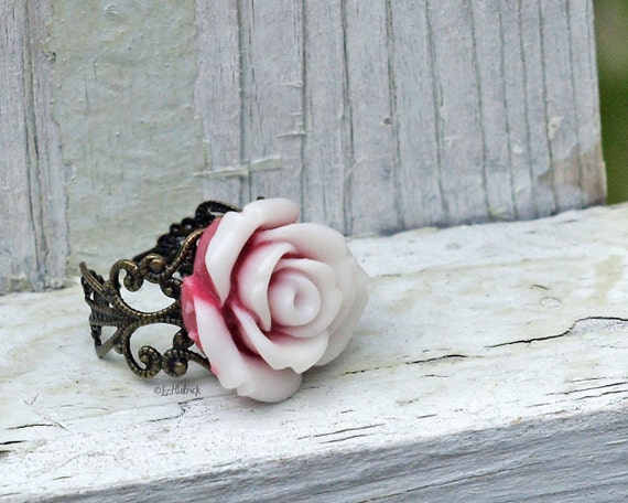 Peppermint Rose Ring, Resin Flower Ring, Cocktail Ring, Pink Red and White Swirl Flower, Novelty Ring