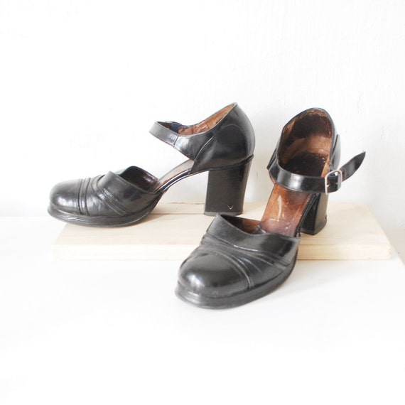 70s leather platform shoes platform janes 70s black