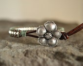 Sage Wild Rose Leather Wrap Bracelet