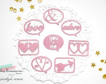 Scrapbook Embellishments, Glitter Paper Die Cuts, Journal Add-on, Scrapbook Die Cut Embellishments