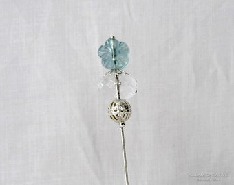 Blue Flower Stick Pin, Teal Flower, Czech Glass Hat Pin, Scarf Pin, Lapel Pin, H0176