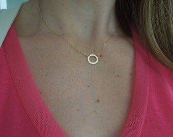 tiny gold hammered circle necklace, small, delicate, dainty, gift under 25, simple, modern, classic, everyday, N111