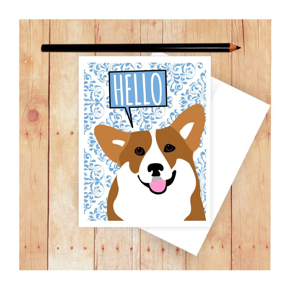 Corgi Card Dog Birthday Card Cute Dog Card Corgi Art Corgi – Dog Birthday Card