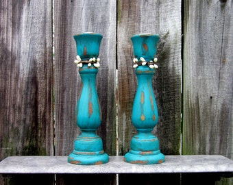 Candle Sticks, Taper Candle Holders, Aqua, Distressed, Pair, Cottage Chic, Painted Wood, Set of Two, Pip Berries
