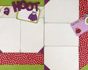 12x12 Scrapbooking Layout 2 Page Kit Owl What a Hoot