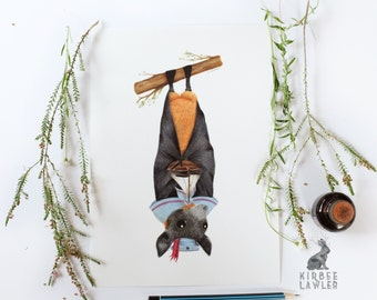 The Flying Fox Who Wanted To Sail A4 Print