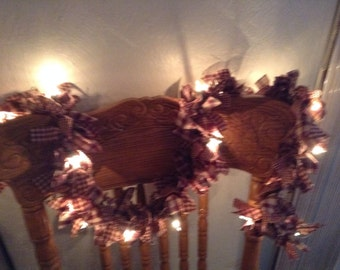 Lighted garland 4 foot with lights, burgundy and tan