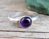 Amethyst Ring, Sterling Silver Stacker, February Birthstone, Purple Gemstone Jewelry- Silver Shop Online