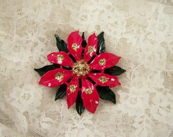 Vintage Christmas Red and Green Poinsettia Flower Brooch, Large Elegant Costume Xmas Pin, Holiday Santa Jewelry, Flower Bouquet Jewelry