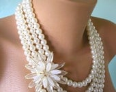 Pearl Statement Necklace Mother of the Bride Great Gatsby Jewelry Flower Necklace Pearl Choker Wedding Necklace Bridal Jewelry Art Deco
