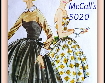 1950's McCalls Pattern 5020 - GLAMOROUS Strapless Evening Prom Dress  - Junior Size 9..Bust 30.5