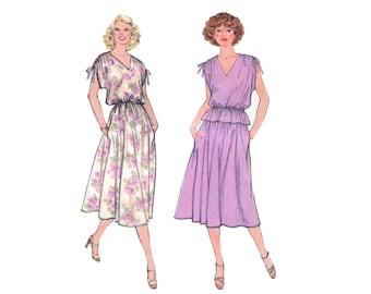 1970s Dress Pattern Pullover V Neck Drawstring Shoulder Blouson Top and Skirt Simplicity 8893 Plus Half Size Bust 43 Vintage Sewing Pattern