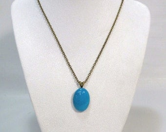 Necklace with Blue Mountain Jade Pendant Handcrafted Jewelry