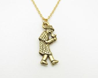 Sherlock Holmes Necklace, Antique Gold Sherlock Holmes Charm Necklace B017