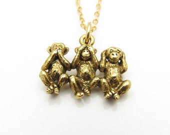 Three Monkeys Necklace, Gold Three Wise Monkeys Charm, Speak No Evil See No Evil Hear No Evil Charm Necklace B031