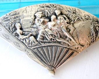 Double Side Large Silver Brooch Repousse Fan Antique