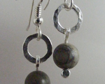 Simple:  Brown Picasso Jasper and Hand Forged Fine Silver Earrings