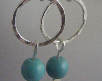 Uncomplicated:  Turquoise Howlite and Hand Forged Fine Silver Earrings