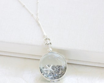 Sterling Silver Sands of Time - Shake Necklace - Filled w/Beach Sand and a Charm - Beach Wedding/Vacation Keepsake - THE ORIGINAL