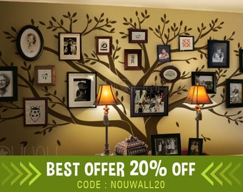 Wall decal , Family Tree Wall decal -Living Room Wall Decals - Photo frame tree Wall Stickers - wall graphic