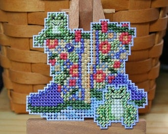 Garden Boots Cross Stitched and Beaded Ornament, Magnet, or Pin - Free U.S. Shipping