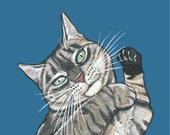 Custom Cat Illustration from your photo - 5x7 inch Hand Painted Portrait- Commission - Pet Memorial Gift Idea - Pet Portraits