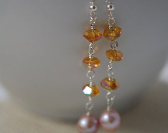 REDUCED from 20.00 Pink fresh water pearl with Czech glass rondelle earrings. Sterling silver, wire wrapped, handmade, orange czech glass.