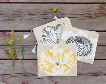 Cosmetic Bag, Makeup Bag, Floral Bag, Zipper Pouch, Zipper Bag, Wedding Party Gifts, Bridesmaid Gifts, Tulip Bag, Sunflower Bag, Jannysgirl