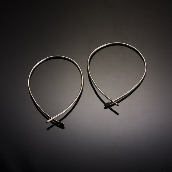 Sterling Silver Inverted Hoops // Fish Hoop Earrings // Minimalist Threader Loops