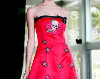 OOAK dress skulls roses strapless red crinoline Day of the Dead Mexico upcycled prom party pinup glamour tattoo rocker Dios de Muertos