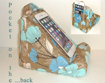 Cell Phone Stand / Designer Stand / Lightly Padded / Holds Your Phone On A Level Safe Bed / Pocket On The Back