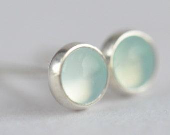 aqua chalcedony 4mm sterling silver stud earrings pair