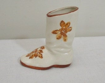 Vintage Occupied Japan Small Brown Flowered Boot