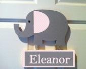 Elephant door sign personalized sign pink and gray elephant nursery door hanger door sign kids door sign elephant wall art