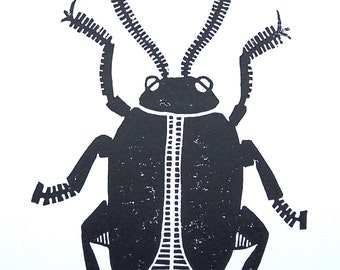 LINOCUT PRINT - Beetle BLACK 8x10 poster on cotton paper - Machine insect beetle bug