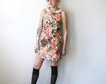 Embroidered Dress / Floral Dress with Embroidered Collar  / Mod Mini Dress Sz XS