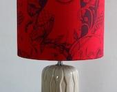 Mr Owl - Medium Drum Lampshade (red) SALE