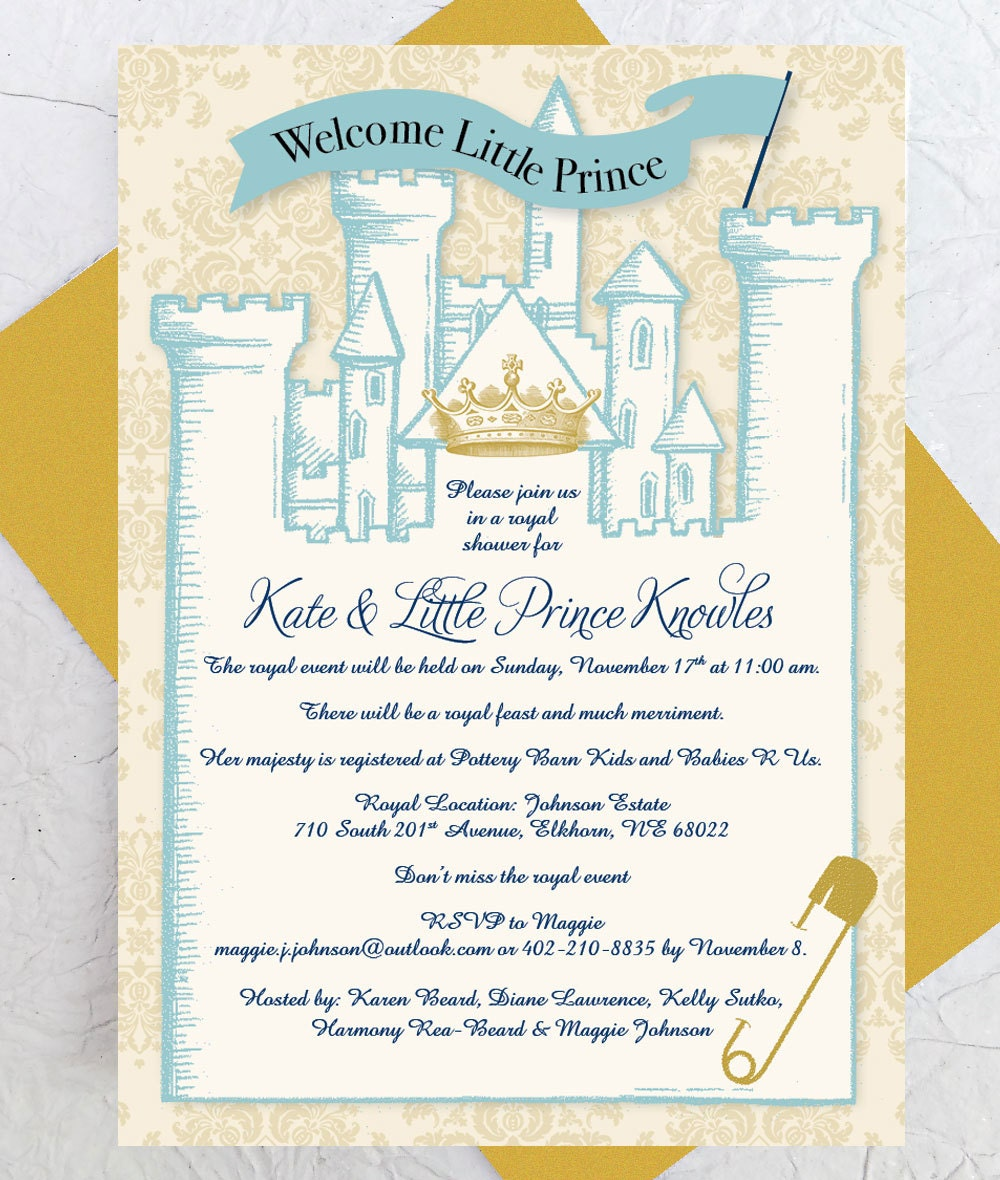 royal baby shower invitation instant download castle