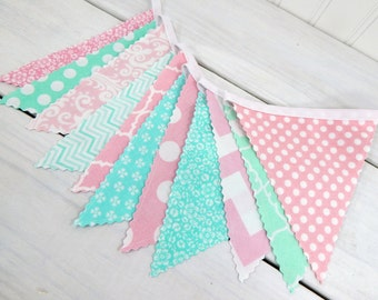 Bunting Banner Wedding Baby Girl Nursery Decor Baby Shower Party Decorations Photography Props Light Pink Mint Floral Flowers Pink