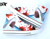 Custom Great White Shark Shoes - Hand Painted Custom Converse High Tops